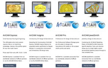 The different products of the ArtCAM range of creative CNC software