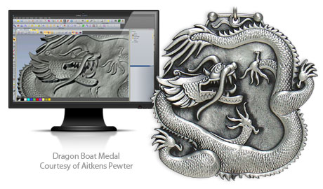 Dragon Boat medal courtesy of Aitkens Pewter and designed in ArtCAM Pro